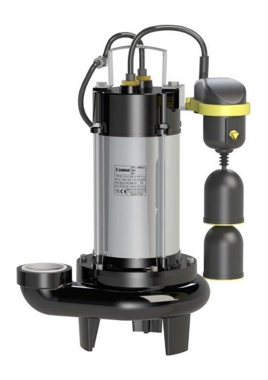 SBRM 18-2 PA Sumak Asansör Flatörlü Parçalayıcı Bıçaklı Dalgıç Pompası